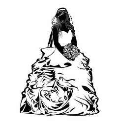 a contour image of the bride with a bouquet of vector image