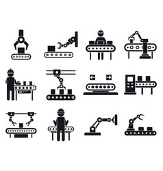 Assembly line icons set simple style vector