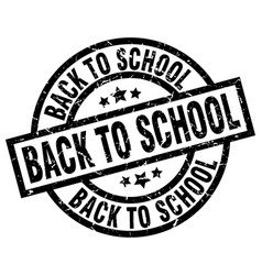 back to school round grunge black stamp vector image