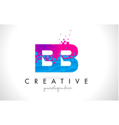 Bb b b letter logo with shattered broken blue vector