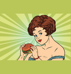 Beautiful sexy woman and burger vector