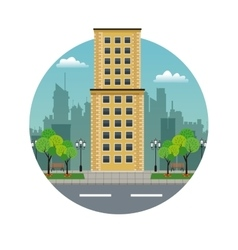 Big building yellow brick urban stamp vector