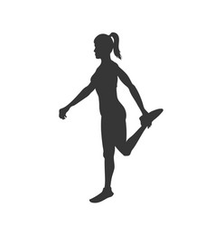 Black silhouette stretching girl vector
