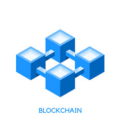 blockchain technology concept simple icon logo vector image