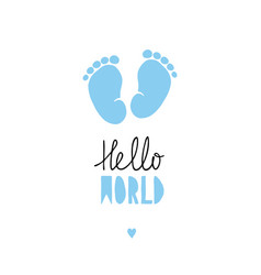 Blue little baby feet card vector
