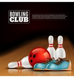 Bowling league indoor club poster vector image