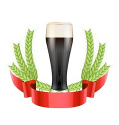 Brewery Label with dark beer glass and green malt vector image