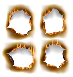 burning holes burn paper with charred edges vector image
