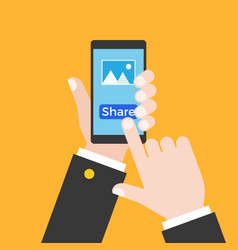 business hand holding smart phone and touch at vector image