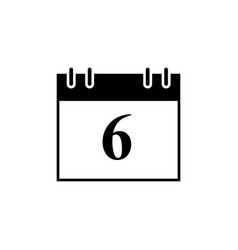 calendar of date 6 black icon vector image