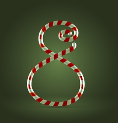 Candy cane abc 8 vector image