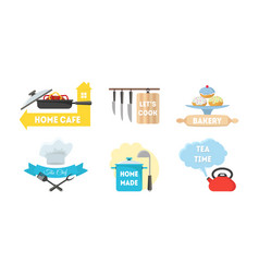 cartoon kitchen labels set vector image