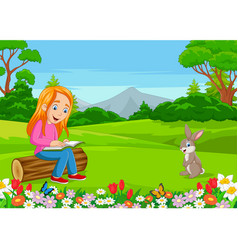 cartoon little girl reading a book in park vector image