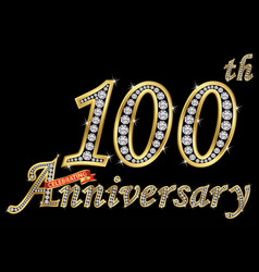 celebrating 100th anniversary golden sign vector image