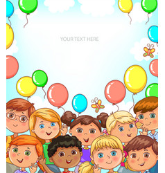 children portraits and balloons banner with place vector image