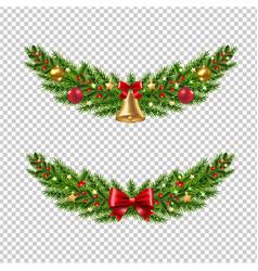 christmas garland set transparent background vector image