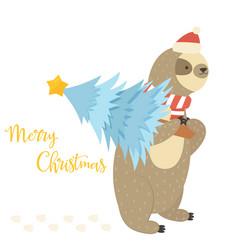 Christmas sloth bearing holiday tree vector