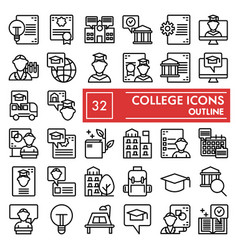 College line icon set university symbols vector