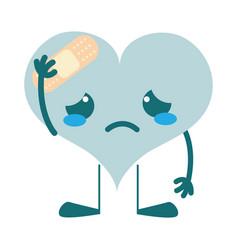 Colorful crying heart with aid band kawaii vector