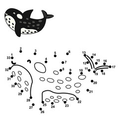 connect dot to draw a cute orca numbers vector image