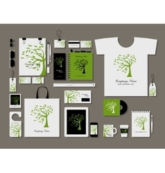 Corporate flat mock-up template green tree design vector