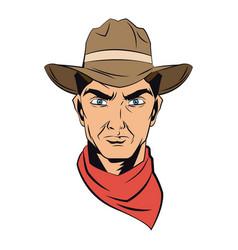 Cowboy man cartoon character modern western vector
