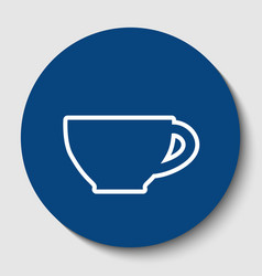 Cup sign white contour icon in dark vector