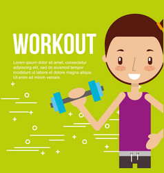 cute girl training with dumbbell fitness vector image