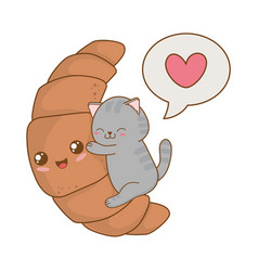 Cute little cat with croissant kawaii character vector