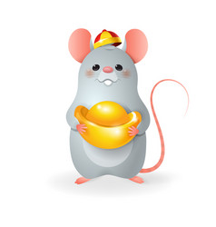 cute little rat with chinese gold celebrate chines vector image