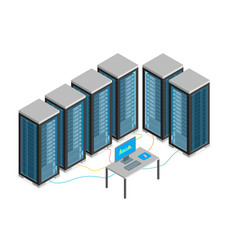 Data center with furniture and equipment isometric vector
