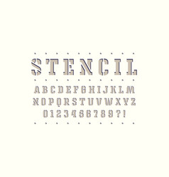 Decorative stencil-plate slab serif font vector