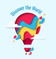 Discover the world paper hot air balloon concept vector