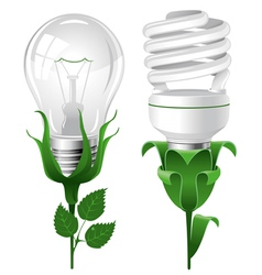 ecological lightbulbs set concept vector image