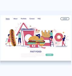 Fast food website landing page design vector