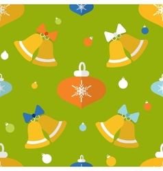 Flat seamless pattern with bells and decorations vector image