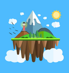 Floating island with mountain hill tree and birds vector