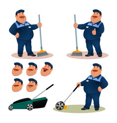 Funny cartoon janitor set with emotions vector