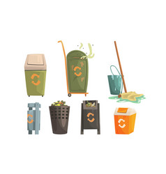 garbage bins with decaying waste set ecology and vector image