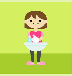 Girl character washing hands cartoon vector