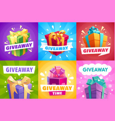 Giveaway gifts give away competition banners vector