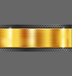 golden metal background with perforated frame vector image