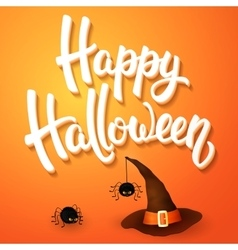 Halloween greeting card with hat angry spiders vector