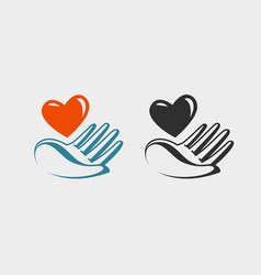 Hand holding red heart icon or symbol love vector