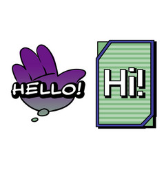 Hello and hi speech bubbles colorful emotional vector