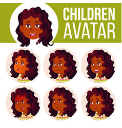indian girl avatar set kid hindu asian vector image