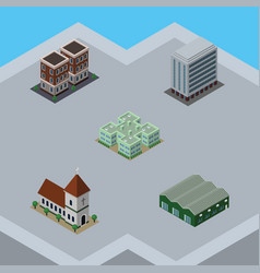 Isometric architecture set of chapel warehouse vector