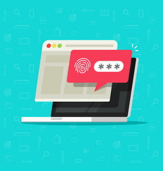 laptop computer with unlocked via fingerprint vector image