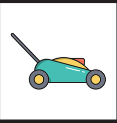 Lawn mower simple gardening icon in trendy line vector