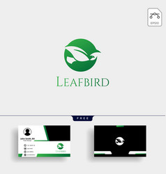 leaf bird negative logo template with business vector image
